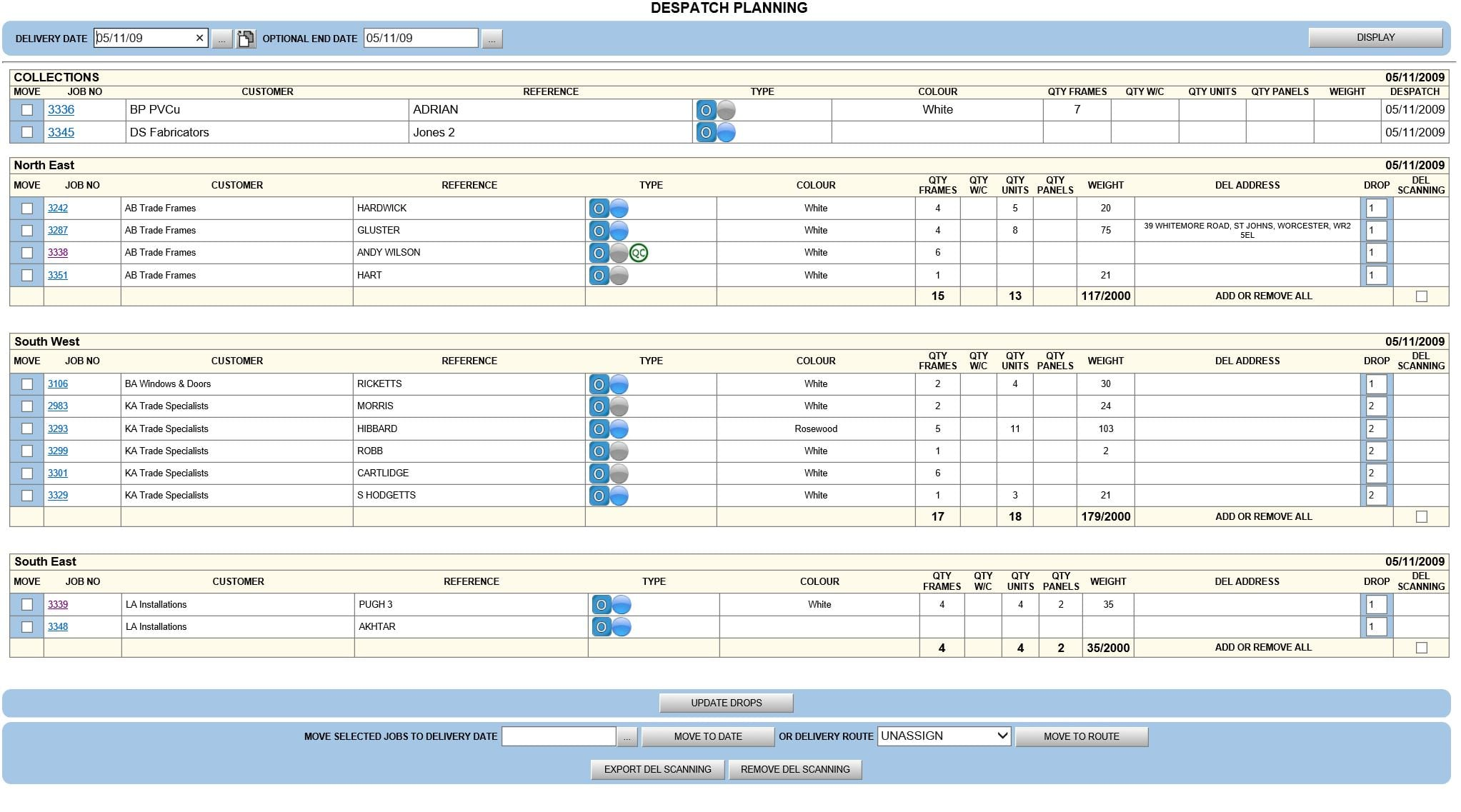 Business Micros | Despatch Planning Page